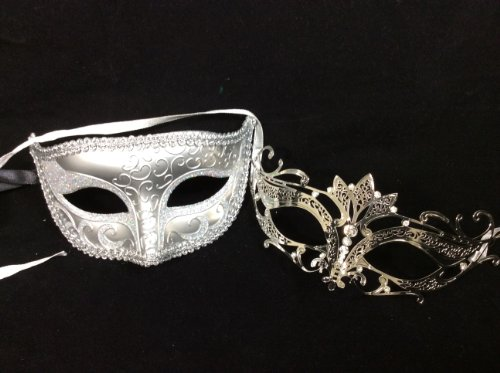 His And Hers Masks For Masquerade Ball (His & Hers Masquerade Couples Venetian Design Masks - 2 Piece Silver Colored Set - Perfect Couple Mardi Gras Majestic Party Halloween Ball Prom by Unknown)