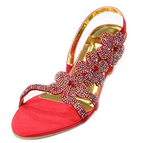 W y W bloque de las mujeres señoras noche tacón sandalias Prom Fiesta Boda Novia Zapatos a juego bolsa (san1011) Red