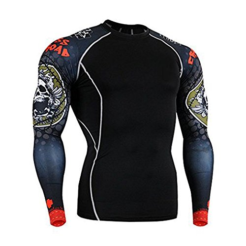 Men Long Sleeve Compression T-Shirts Base Layers Top Shirt pants 33M, Red-black - Anyway Long Sleeve T-shirt