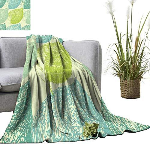 (Decorative Throw Blanket Summer Hand Drawn Leaf Wallpaper Seamless Pattern Background Sofa Chair 40