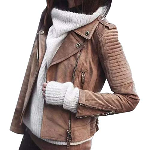 (SELX Women Vintage Zip Suede Solid Lapel Faux Leather Moto Jacket Coat Brown US)