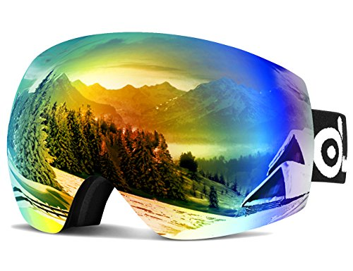 Odoland Large Spherical Frameless Ski Goggles for Men and Women, S2 OTG Double Lens Goggles for Skiing, Snowboarding, Snowmobile, uv400 Protection and Anti-fogging (Ski Double Men Goggles Lens)