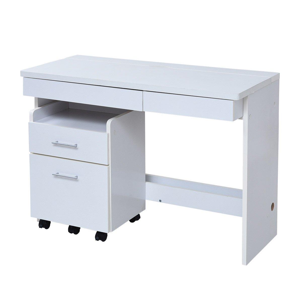 JKプラン デスク ワークデスク チェスト 2点セット すっきり 配線 収納 PCデスク パソコンデスク ハイタイプ 幅100 シンプル SOHO 木製 ホワイト 白 SGT-0125-WH B078YRPPLPホワイト