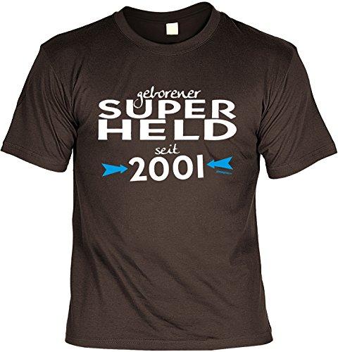 T-Shirt - Geborener Superheld Seit 2001 - lustiges Sprüche Shirt als Geschenk zum 16. Geburtstag