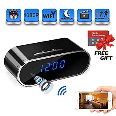 Spy Camera 1080P WiFi, Suntee Hidden Camera Clock with Night Vision/Motion Detection/Loop Recording Home Security Surveillance Cameras/iPhone, Android and Windows Supported from Suntee
