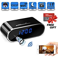 Suntee Hidden 1080P Wi-Fi Spy Camera Clock with Night Vision/Motion Detection/Loop Recording Home Security Surveillance Cameras