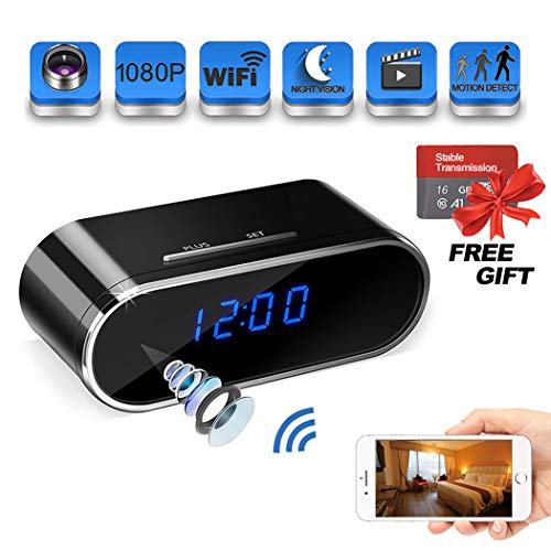 Spy Camera 1080P WiFi, Suntee Hidden Camera Clock with Night Vision/Motion Detection/Loop Recording Home Security Surveillance Cameras/iPhone, Android and Windows Supported (Wireless Hidden Camera With Audio)