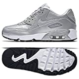 Nike Air Max 90 SE Leather Silver Pack (GS) 859633-003 Metallic Platinum Kids shoes (size 5.5Y)