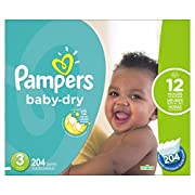 Pampers Baby-Dry Disposable Diapers Size 3, 204 Count, ECONOMY PACK PLUS