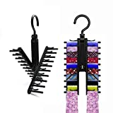 2PCS Ties Hangers For Men, Ties Racks For Closet, Tie Belt Scarf Organizer With 360 Degree Rotated Hooks And 20 Non-Slip Clips Holders(Black)