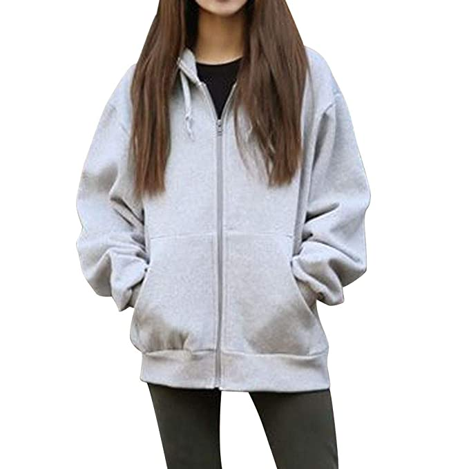 Yvelands Mujeres con Capucha Fleece Abrigo de Manga Larga Outwear Suelta Casual Zip Bolsillos sólido Chaqueta