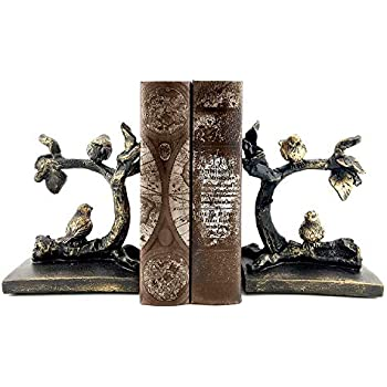 Bellaa 23446 Birds Bookends Vintage Style Book Ends Library 6 inch