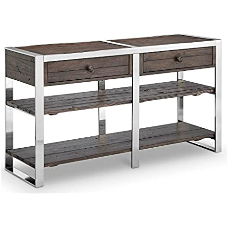 Modern Rectangular Console Table In Distressed Brushed Nickel