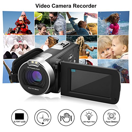 """incoSKY Video Camera Camcorder,1080P 24MP 16X Digital Zoom Camera With 2.7"""" TFT LCD 270° Rotation Screen, Black"""