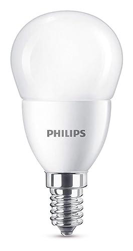 Philips bombilla LED esférica mate casquillo fino E14, 7 W equivalentes a 60 W en incandescencia, 830 lúmenes, luz blanca fría: Amazon.es: Iluminación