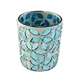 Firefly Home Collection 3-Inchx3-Inchx3-Inch Teal Mosaic Candle Holder