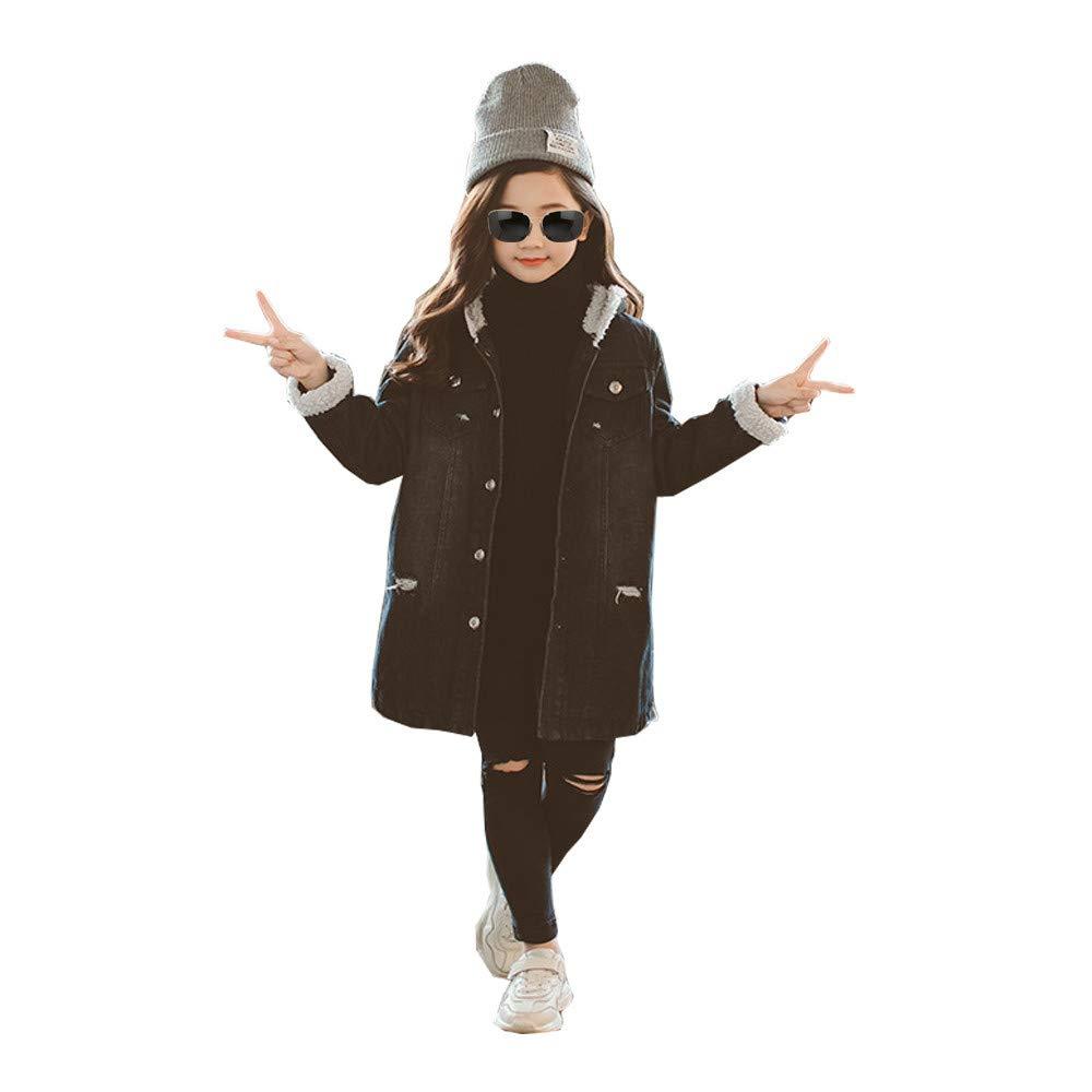 Kids Girls Denim Jacket Fleece Coat with Hood Thick Winter Wear (4-5Years, Denim)