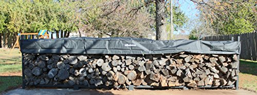 The Woodhaven Brown 16 Foot Firewood Log Rack with Cover by The Woodhaven