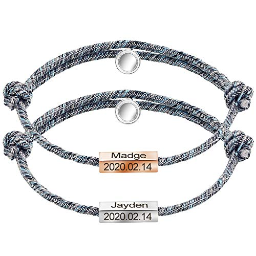 GAGAFEEL Couple Bracelets Custom Engraved Date Name ID Bangle His Hers Mutual Attraction Braided Rope Magnetic Cuff Personalized Gift for Lover Friends