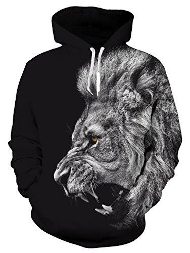 Idgreatim Men's Lion Printed Pullover Hoodie Winter Cool Sweatshirt ()