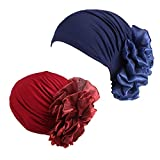 MOMEPE 1 2 3 Pack Women Flower Pleated Head Cover Turban Chemo Hat for Cancer Patient (Navy Blue Wine Red)