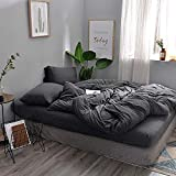 DOUH Jersey Knit Cotton 3 Pieces Duvet Cover Set Ultra Soft Home Bedding Sets Solid Comforter Cover with Pillow Shams Comfy Dark Gray King Size