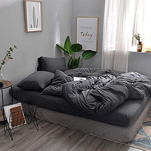 DOUH Jersey Knit Cotton 3 Pieces Duvet Cover Set Ultra Soft Home Bedding Sets Solid Comforter Cover with Pillow Shams Comfy Dark Gray King Size by DOUH