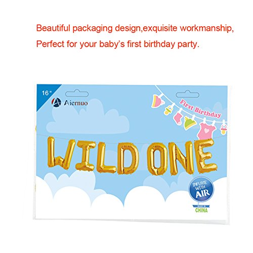 Outlet WILD ONE Birthday Decoration Balloons Baby Theme Party Supplies 16 Gold Foil