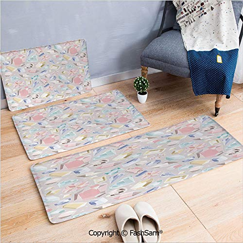 (3 Piece Flannel Bath Carpet Non Slip Colorful Diamond Gemstone Figures Rich Feminine Women Fashion Theme Digital Print Decorative Front Door Mats Rugs for Home(W15.7xL23.6 by W19.6xL31.5 by W35.4xL62.)