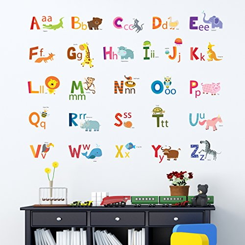 Decowall da 1503a animal alphabet abc kids wall stickers wall decals peel and stick removable wall stickers for kids nursery bedroom living room medium
