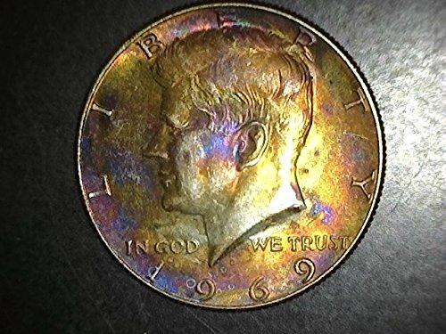- 1969 Kennedy RARE Rainbow Toning Half Dollar 50c BU