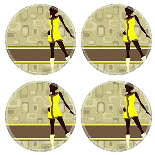 MSD Natural Rubber Round Coasters IMAGE ID: 8557092 Olive green retro banner with mod girl silhouette Graphics are grouped and in several layers for easy editing The file can be scaled to any size