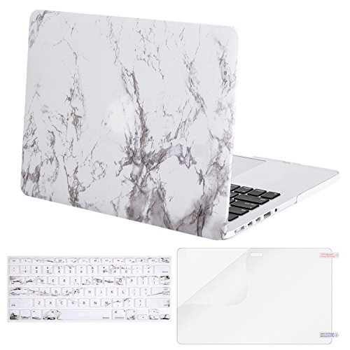 Mosiso Plastic Pattern Hard Case with Keyboard Cover with Screen Protector Only for MacBook Pro Retina 13 Inch No CD-Rom (A1502/A1425, Version 2015/2014/2013/end 2012), White Marble