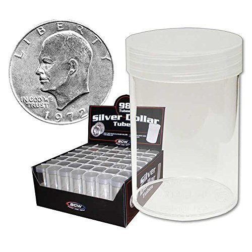 COIN STORAGE TUBES, round clear plastic w/ screw on tops for Large dollar / EISENHOWER / MORGAN DOLLAR (10 tubes)