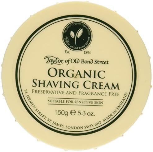 Taylor of Old Bond Street Organic Shaving Cream Bowl, Crema da Rasatura senza Profumazione, 150g