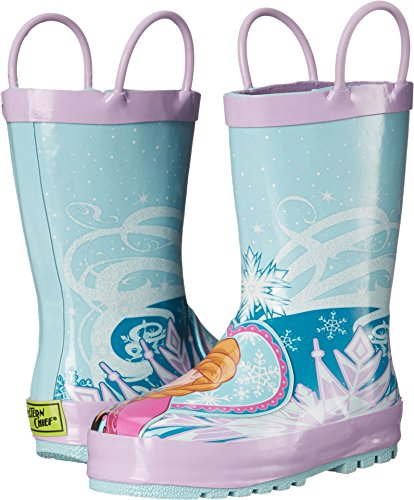 Western Chief Kids Waterproof Disney Character Rain Boots with Easy on Handles, Frozen Anna and Elsa, 3 M US Little Kid ()