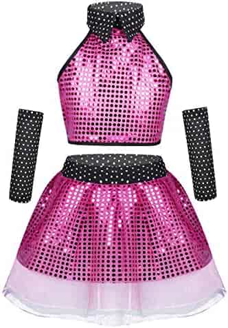 a07c72858393 inlzdz Kids Girls Boys Shiny Sequins Mini Dress Hip-hop Jazz Latin  Performance Costumes Street
