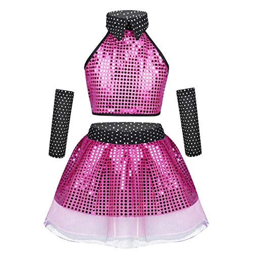 Yeahdor Girls' Sequins Hip-hop Dance Jazz Costume Outfits Crop Top with Tutu Dress Skirt and Arm Sleeves Set Rose Red ()