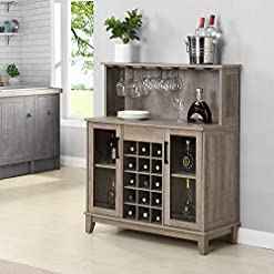 Home Bar Cabinetry Bar Cabinet with Wine Rack and Glass Doors (Grey Wash) home bar cabinetry