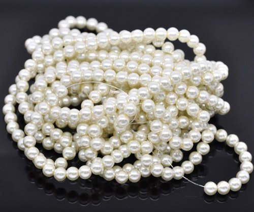 PEPPERLONELY Brand 5 Strands (32-1/4 Inch apprx 110PC/Strand) Round 8mm Ivory Glass Pearl Loose -