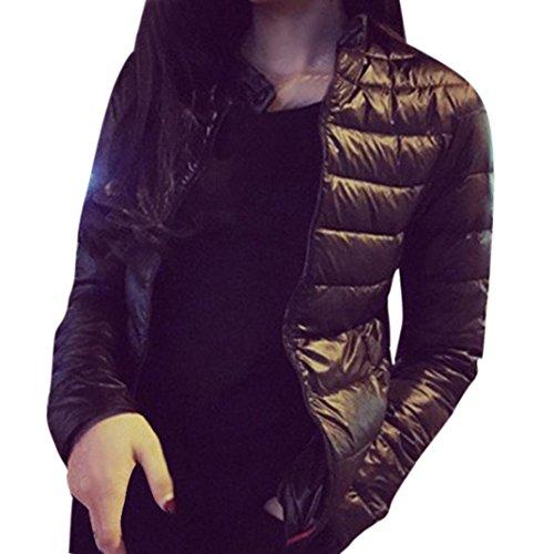 Escudo, abrigo,Internet Chaqueta para mujer de moda abrigo de parka delgado Abrigo cálido invierno Outwear Negro
