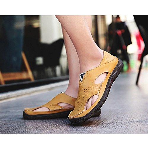 Ocio Zapatos de Playa para Libre Playa Cuero y Aire Verano para Hombre Pescador al Interior Aptas de Zapatos Sandalias Cerrados de para Sandalias de Exterior Deportivas Yellow de Agua Deportes Zapatillas de wp5qHx18Pn