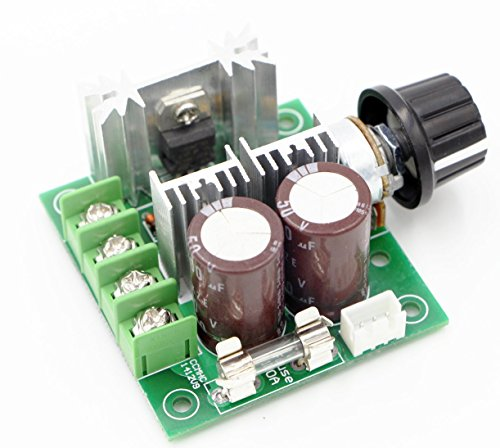 RioRand 12V-40V 10A PWM DC Motor Speed Controller with Knob-High Efficiency, High Torque, Low Heat Generating with Reverse Polarity Protection, High Current ()