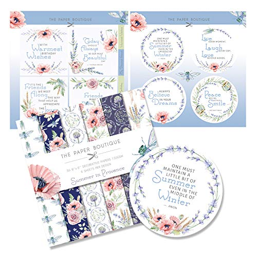 The Paper Boutique Summer in Provence Paper Kit 8x8 Paper Pad & Die Cut Toppers 300gsm