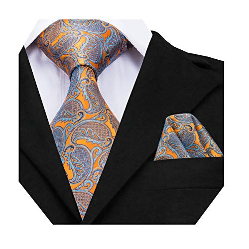 (Dubulle Orange Paisely Mens Extra Long Tie for Big and Tall with Pocket Square Handkerchief Hanky)