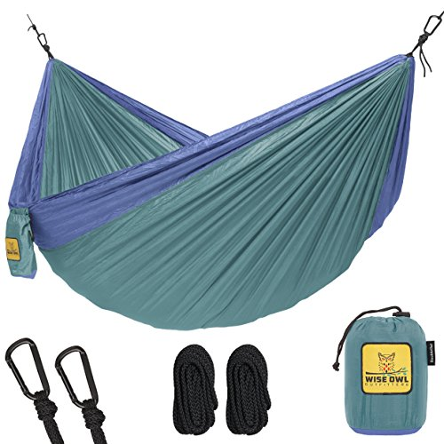 Double Nylon Hammock (Hammock for Camping Single & Double Hammocks - Top Rated Best Quality Gear For The Outdoors Backpacking Survival or Travel - Portable Lightweight Parachute Nylon DO Green & Blue)