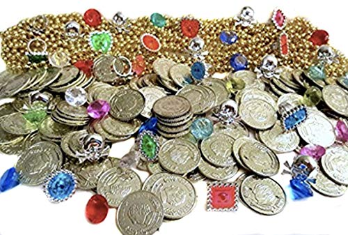 Nikki's Knick Knacks 204 Piece Pirate Treasure Set- Gold Coins, Diamond Gems, Gold Necklaces, and Rings! ()