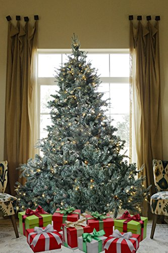 8 FT Prelit Premium Spruce Hinged Artificial Christmas Tree 1600 Realistic Branch Tips / Pines With 600 LED lights and Stand (Lit Pre Christmas Spruce Trees Blue)