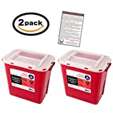 Sharps Container 2 Gallon - Plus Vakly Biohazard Disposal Guide (2 Pack)