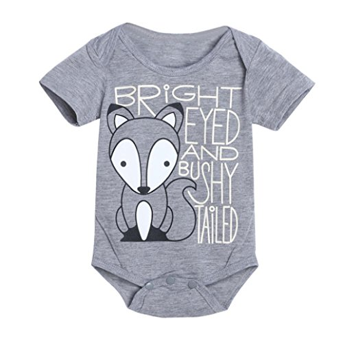 (Matoen(TM) Newborn Infant Baby Boys Girls Fox Letter Print Romper Jumpsuit Outfits Clothes (0-6 months, Gray))